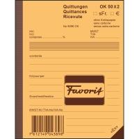 Durchschreibebuch Favorit 9096 A6, Quittung, 50x2 Blatt, blau/weiss