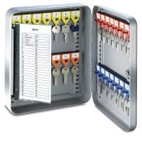 Schlüsselkasten KyStor KR-15 Keybox, 28 Haken, Zylinderschloss, silber