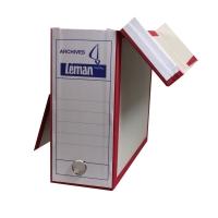 Archivschachtel Leman, B110xT325xH260 mm, grau/rot