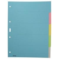 Register A4, Karton 210 g/m2, 5teilig, farbig