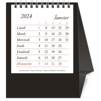 Tischplaner Novos, 1 Monat pro Seite, Kunststoff, französisch, schwarz