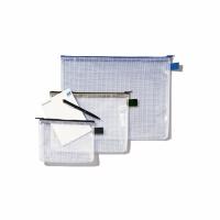 Reissverschlussbeutel Rexel, 340x260 mm, transparent/schwarz