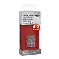 Haftmagnet Sigel GL190, Superdym, 10x10x10 mm, silber, Packung à 6 Stück
