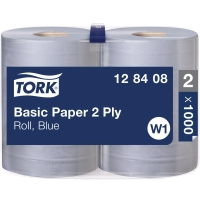 Standard Papierwischtücher Tork 128408, 2-lagig, blau, Packung à 2 Rollen