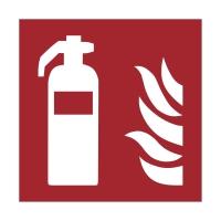 Brandschutzzeichen FEUERLÖSCHER, Selbstklebefolie lang nachleuchtend, 148x148 mm