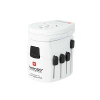 Reiseadapter Pro+ 3-polig mit 1 USB-Anschluss Skross