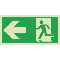 Rettungszeichen RETTUNGSWEG LINKS, Selbstklebefolie nachleuchtend, 300x150 mm