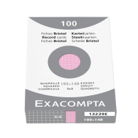 Karteikarten Exacompta A6 5mm kariert, pink, Pk. à 100 Stk.