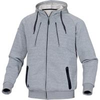 Sweatshirt Jacke Deltaplus Anzio, Molton/Polyester/Baumwolle, Grösse S, grau