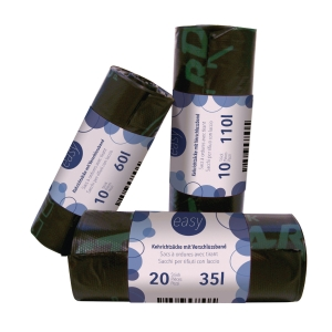 Müllbeutel mit Verschlussband EXTRA OKS HD/PE, 110l, Rolle à 10 Beutel