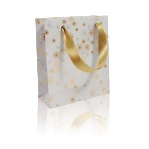 Geschenktasche weiss/gold Clairefontaine, 12x4x13 cm, Pack à 5 Stück