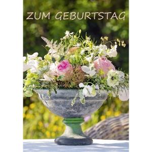 Doppelkarte Art Bula , 122x175 mm, Blumen,  Geburtstag