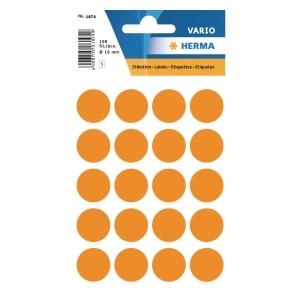Vielzweck Etiketten HERMA 1874, 19 mm, rund, leuchtorange, Packung à 100 Stück