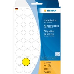 Vielzweck Etiketten HERMA 2251, 19 mm, rund, gelb, Packung à 1280 Stück
