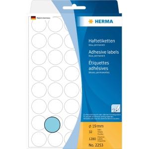Vielzweck Etiketten HERMA 2253, 19 mm, rund, blau, Packung à 1280 Stück