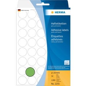 Vielzweck Etiketten HERMA 2255, 19 mm, rund, grün, Packung à 1280 Stück