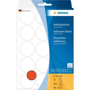 Vielzweck Etiketten HERMA 2272, 32 mm, rund, rot, Packung à 480 Stück