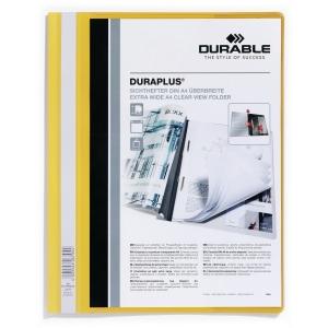 Schnellhefter Durable Duraplus A4+, mit Sichttasche, gelb