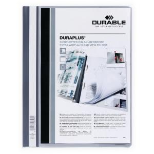 Schnellhefter Durable Duraplus A4+, mit Sichttasche, grau