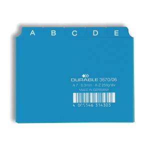 Leitkartenregister Durable 36700 A7, A-Z, 25teilig, 5/5 Fahnen, blau