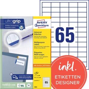 Etiketten Avery Zweckform 3666, 38 x 21,2 mm, Packung à 6500 Stück