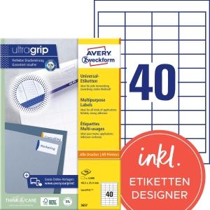 Etiketten Avery Zweckform 3657, 48,5 x 25,4 mm, Packung à 4000 Stück