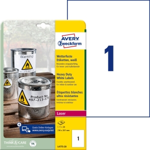 Etiketten Avery Zweckform L4775, 210x297 mm, wasserfest, weiss, Pk. à 20 Stk.