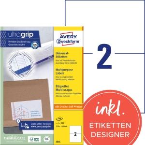 Etiketten Avery Zweckform 3655, 210x148 mm, Packung à 200 Stück