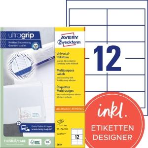 Etiketten Avery Zweckform 3659, 97 x 42,3 mm, weiss, Packung à 1200 Stück