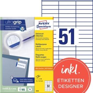 Etiketten Avery Zweckform 3420, 70 x 16,9 mm, weiss, Packung à 5100 Stück