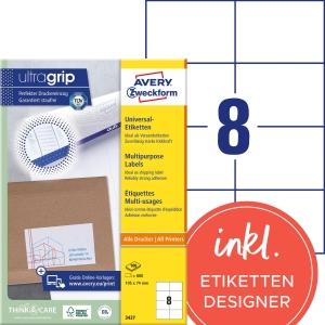 Etiketten Avery Zweckform 3427, 105 x 74 mm, weiss, Packung à 800 Stück