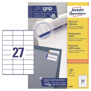 Etiketten Avery Zweckform 3479, 70 x 32 mm, weiss, Packung à 2700 Stück