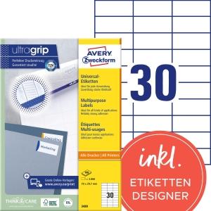 Etiketten Avery Zweckform 3489, 70 x 29,7 mm, weiss, Packung à 3000 Stück