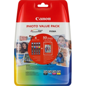 Photo Value Pack CANON CLI-526PA, IP 4850,  CMYBK, Packung 4x9ml/50 Blatt