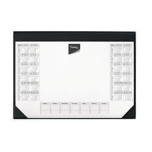 Schreibunterlage Lyreco, mit Kalendarium, 60x40 cm, schwarz