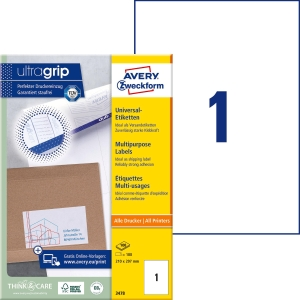 Etiketten Avery Zweckform 3478, 210 x 297 mm, weiss, Packung à 100 Stück