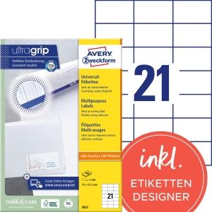 Etiketten Avery Zweckform 3652, 70 x 42,3 mm, weiss, Packung à 2100 Stück