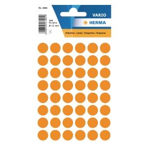 Vielzweck Etiketten HERMA 1864, 13 mm, rund, leuchtorange, Packung à 240 Stück