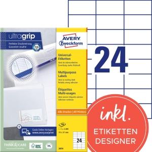 Etiketten Avery Zweckform 3474, 70 x 37 mm, weiss, Packung à 2400 Stück