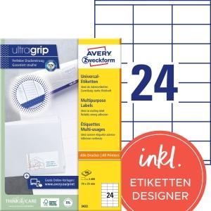 Etiketten Avery Zweckform 3422, 70 x 35 mm, weiss, Packung à 2400 Stück