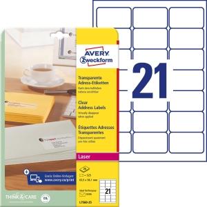 Etiketten Avery Zweckform L7560, 63,5x38,1 mm, Laser, transparent, Pk. à 525 Stk