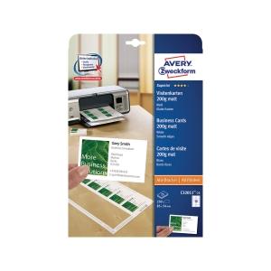 Visitenkarten Avery Zweckform C32011, 85x54 mm, weiss, Pk. à 250 Stk.