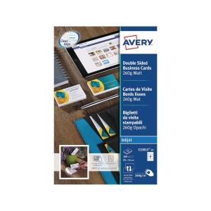 Visitenkarten Avery Zweckform C32015, 85x54 mm, Inkjet, weiss, Pk. à 200 Stk.