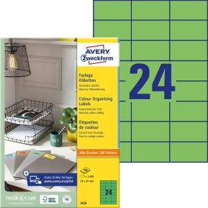 Etiketten Avery Zweckform 3450, 70x37 mm, grün, Packung à 2400 Stück