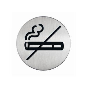 Türschild Durable 4911-23, 83 mm rund, Picto Nichtraucher, silber/schwarz