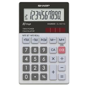 Taschenrechner Sharp ELW211GGY, 10-stellige Anzeige, hellgrau