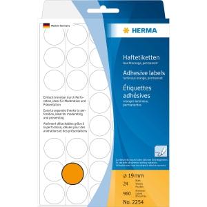 Vielzweck Etiketten HERMA 2254, 19 mm, rund, leuchtorange, Packung à 960 Stück
