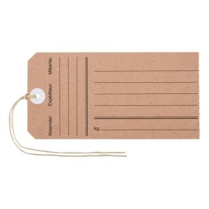 Anhänge-Etiketten Biella Manila 563130, 60x120 mm mit Druck, braun, Pk. à 10 Et.