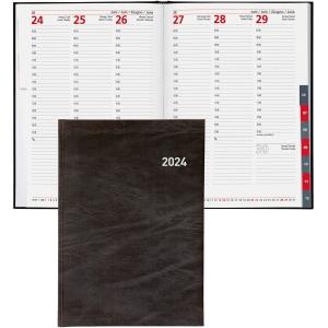 Agenda Biella Registra 7 plus 809370, 1 Woche auf 2 Seiten, Kunstleder, schwarz