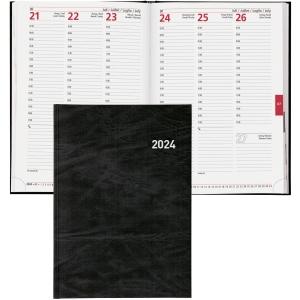 Agenda Biella Registra 7 809507, 1 Woche auf 2 Seiten, Kunstleder, schwarz